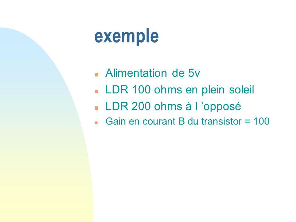 exemple n Alimentation de 5v n LDR 100 ohms en plein soleil n LDR 200 ohms à l opposé n Gain en courant B du transistor = 100