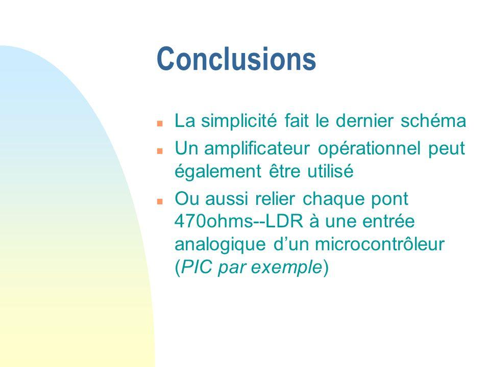 Conclusions n La simplicité fait le dernier schéma n Un amplificateur opérationnel peut également être utilisé n Ou aussi relier chaque pont 470ohms--LDR à une entrée analogique dun microcontrôleur (PIC par exemple)