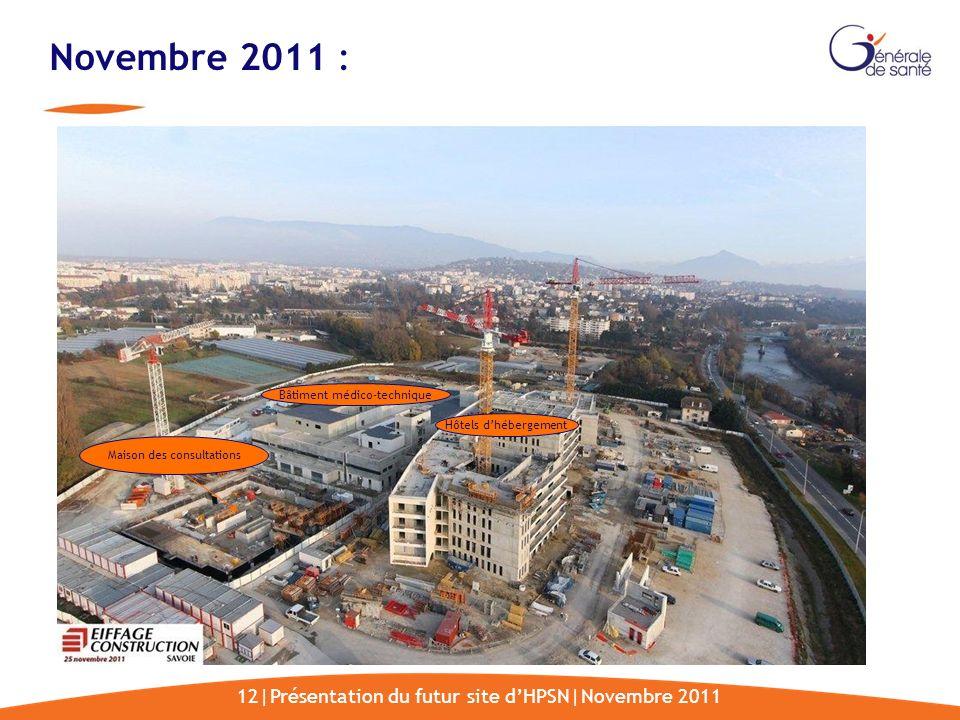 12|Présentation du futur site dHPSN|Novembre 2011 Novembre 2011 : Maison des consultations Bâtiment médico-technique Hôtels dhébergement