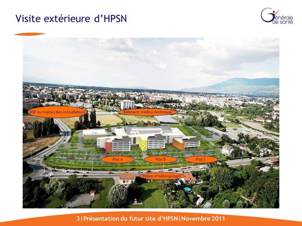 3|Présentation du futur site dHPSN|Novembre 2011 Visite extérieure dHPSN MSP ou maison des consultations Bâtiment médico-technique Hôtels dhébergement