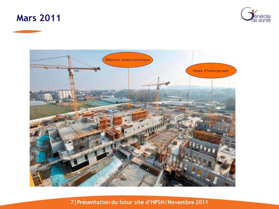 7|Présentation du futur site dHPSN|Novembre 2011 Mars 2011 Bâtiment médico-technique Hôtels dhébergement