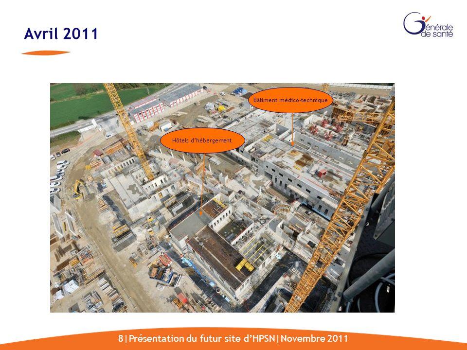 8|Présentation du futur site dHPSN|Novembre 2011 Avril 2011 Bâtiment médico-technique Hôtels dhébergement