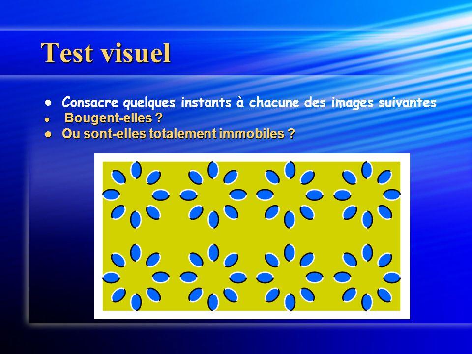 Test visuel Consacre quelques instants à chacune des images suivantes Bougent-elles ? Bougent-elles ? Ou sont-elles totalement immobiles ? Ou sont-ell