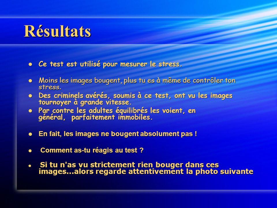 Résultats Ce test est utilisé pour mesurer le stress. Ce test est utilisé pour mesurer le stress. Moins les images bougent, plus tu es à même de contr