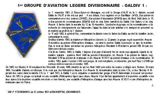 1 er GROUPE D AVIATION LEGERE DIVISIONNAIRE - GALDIV 1 - (suite)