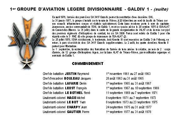 1 er GROUPE D AVIATION LEGERE DIVISIONNAIRE - GALDIV 1 - (suite)