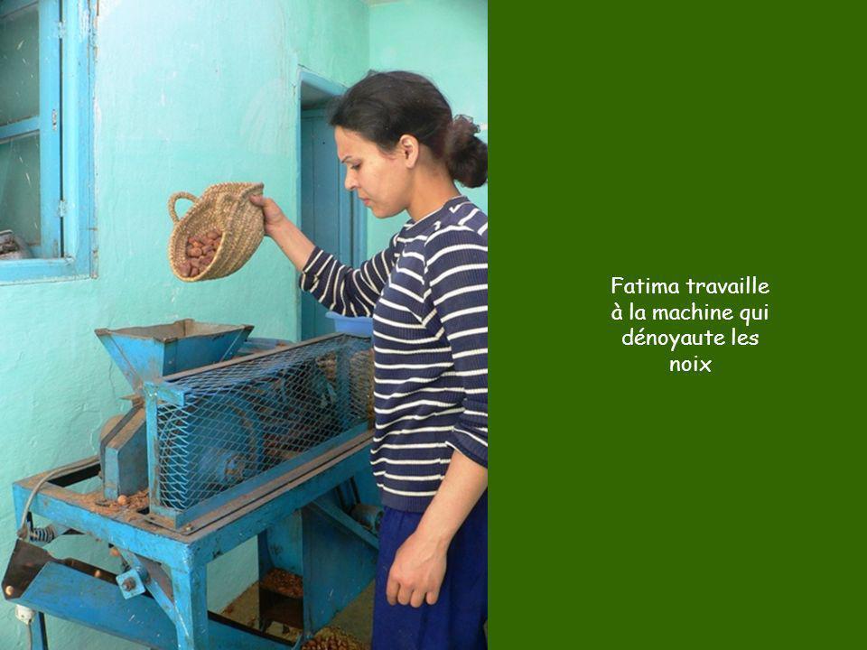 Fatima travaille à la machine qui dénoyaute les noix