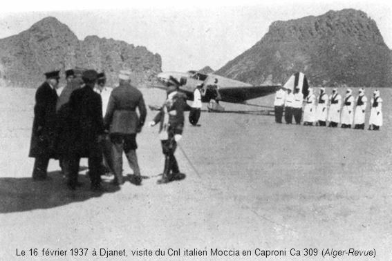 Le 16 février 1937 à Djanet, visite du Cnl italien Moccia en Caproni Ca 309 (Alger-Revue)