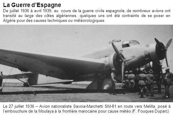 Le 27 juillet 1936 – Avion nationaliste Savoia-Marchetti SM-81 en route vers Melilla, posé à lembouchure de la Moulaya à la frontière marocaine pour c
