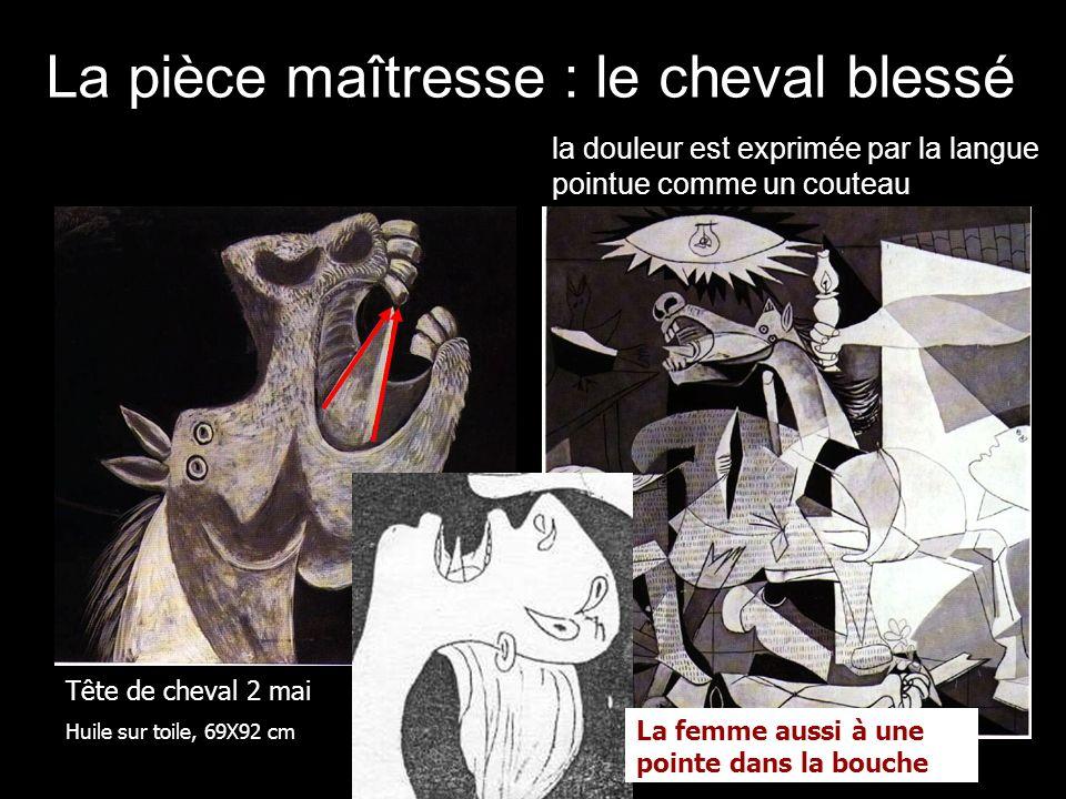 La pièce maîtresse : le cheval blessé Tête de cheval 2 mai Huile sur toile, 69X92 cm la douleur est exprimée par la langue pointue comme un couteau La femme aussi à une pointe dans la bouche