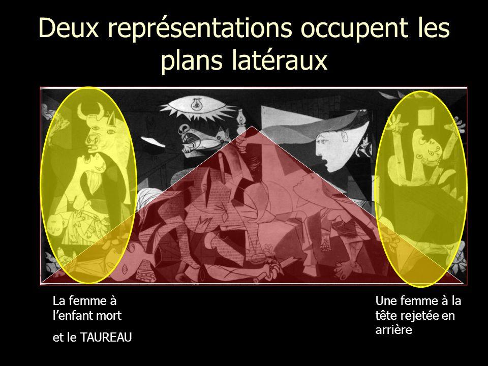 Deux représentations occupent les plans latéraux Une femme à la tête rejetée en arrière La femme à lenfant mort et le TAUREAU