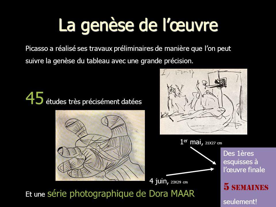 La genèse de lœuvre Picasso a réalisé ses travaux préliminaires de manière que lon peut suivre la genèse du tableau avec une grande précision.