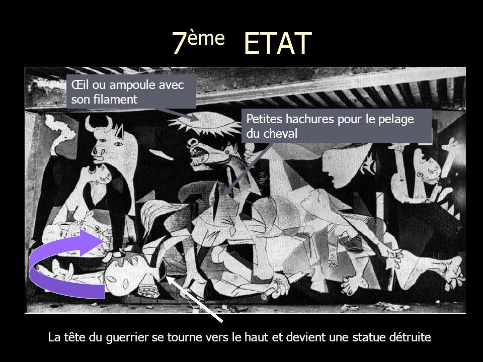 7 ème ETAT La tête du guerrier se tourne vers le haut et devient une statue détruite Petites hachures pour le pelage du cheval Œil ou ampoule avec son filament