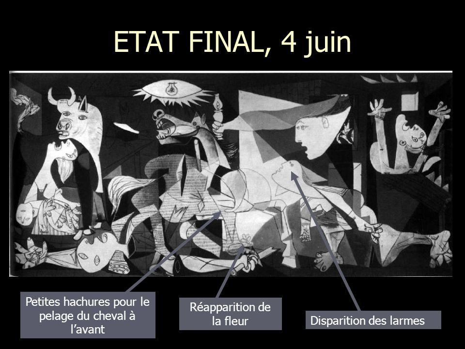 ETAT FINAL, 4 juin Disparition des larmes Réapparition de la fleur Petites hachures pour le pelage du cheval à lavant