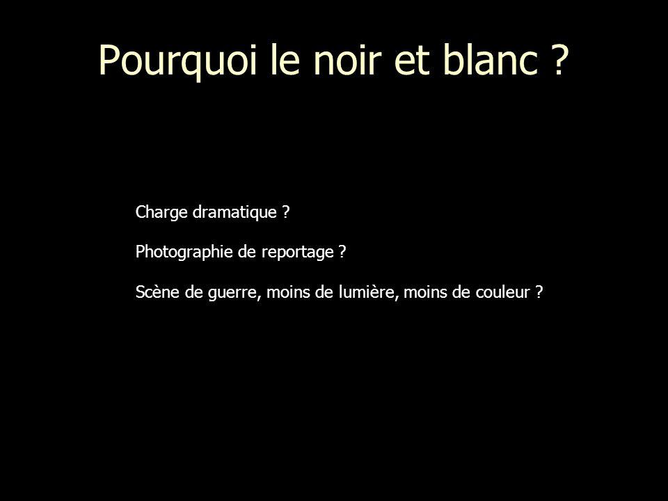 Pourquoi le noir et blanc ? Charge dramatique ? Photographie de reportage ? Scène de guerre, moins de lumière, moins de couleur ?