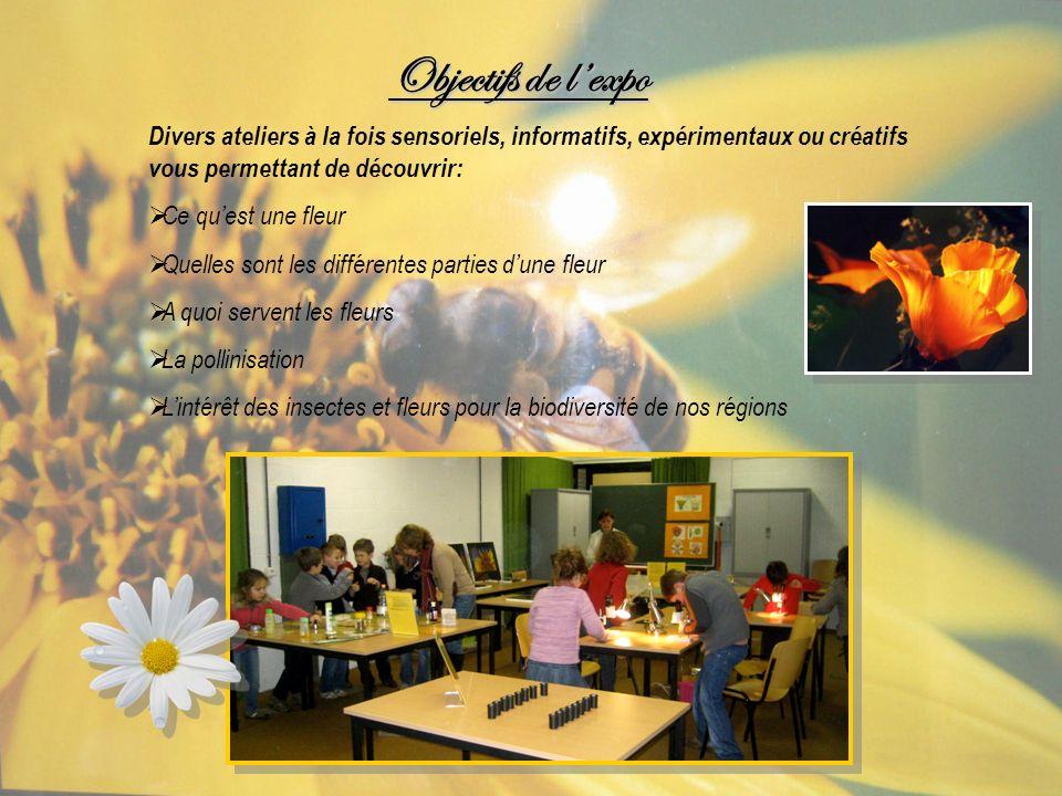 Objectifs de lexpo Divers ateliers à la fois sensoriels, informatifs, expérimentaux ou créatifs vous permettant de découvrir: Ce quest une fleur Quell