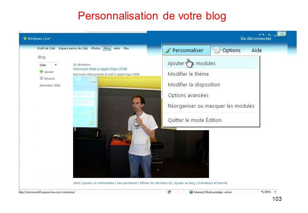 103 Personnalisation de votre blog
