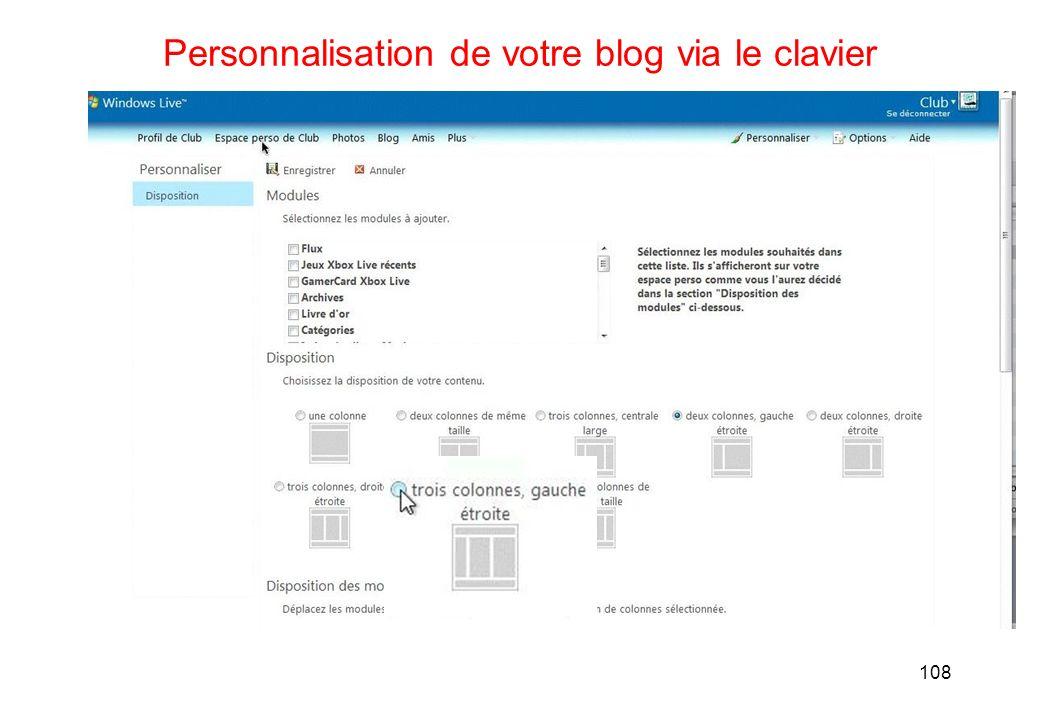 108 Personnalisation de votre blog via le clavier