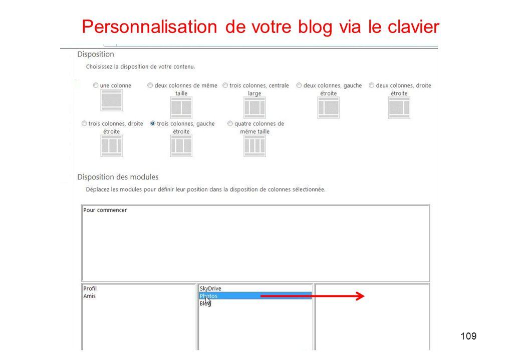 109 Personnalisation de votre blog via le clavier