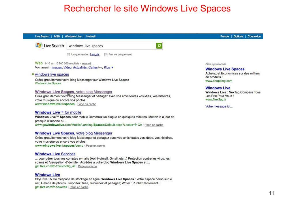 11 Rechercher le site Windows Live Spaces
