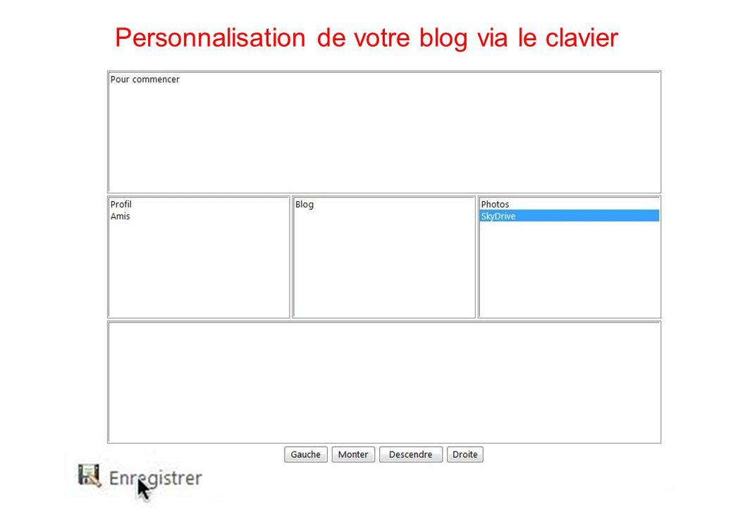 111 Personnalisation de votre blog via le clavier