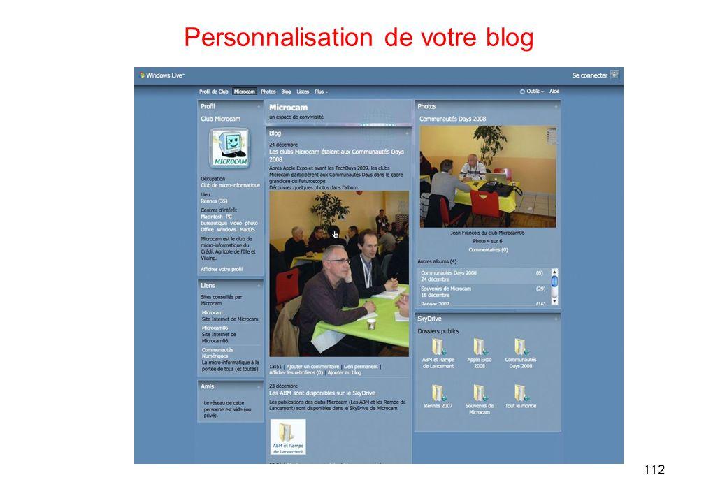 112 Personnalisation de votre blog