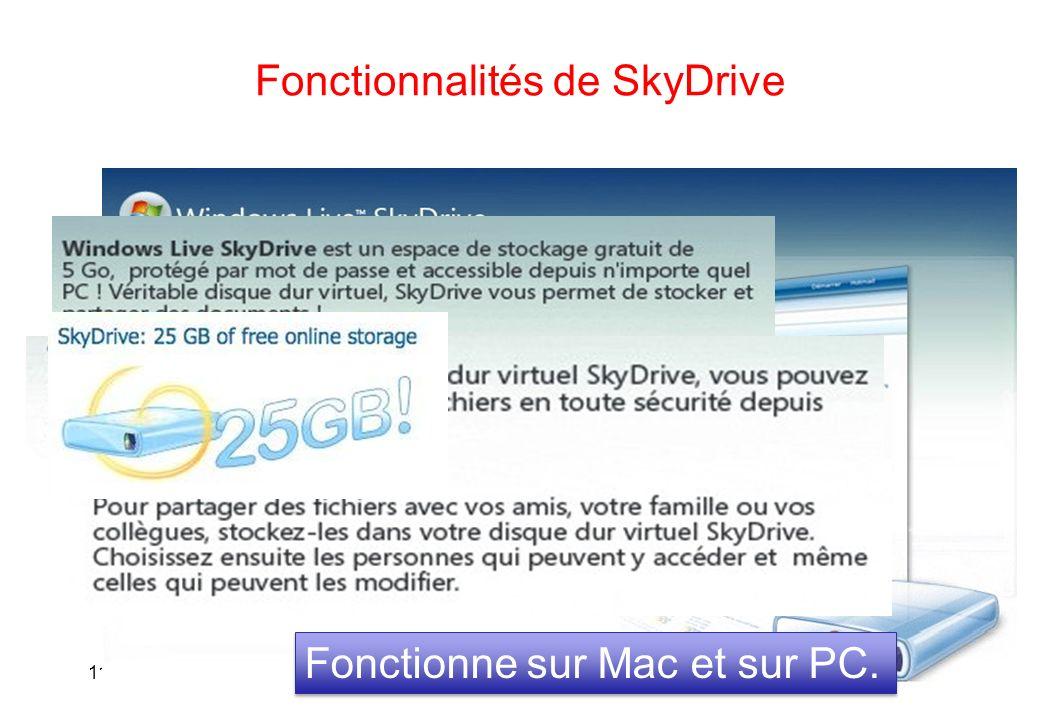 Fonctionnalités de SkyDrive 118 Fonctionne sur Mac et sur PC.