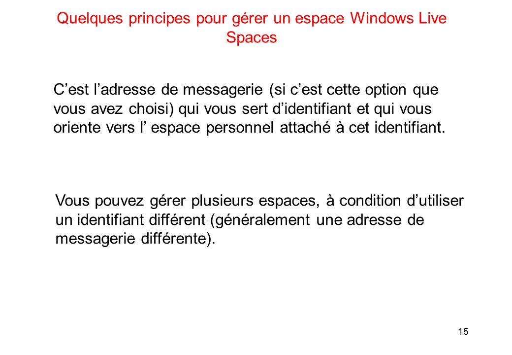 15 Quelques principes pour gérer un espace Windows Live Spaces Cest ladresse de messagerie (si cest cette option que vous avez choisi) qui vous sert didentifiant et qui vous oriente vers l espace personnel attaché à cet identifiant.