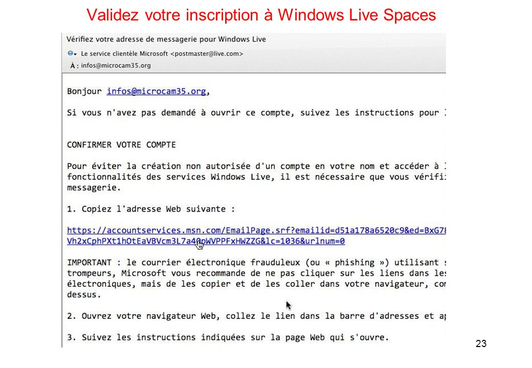 23 Validez votre inscription à Windows Live Spaces