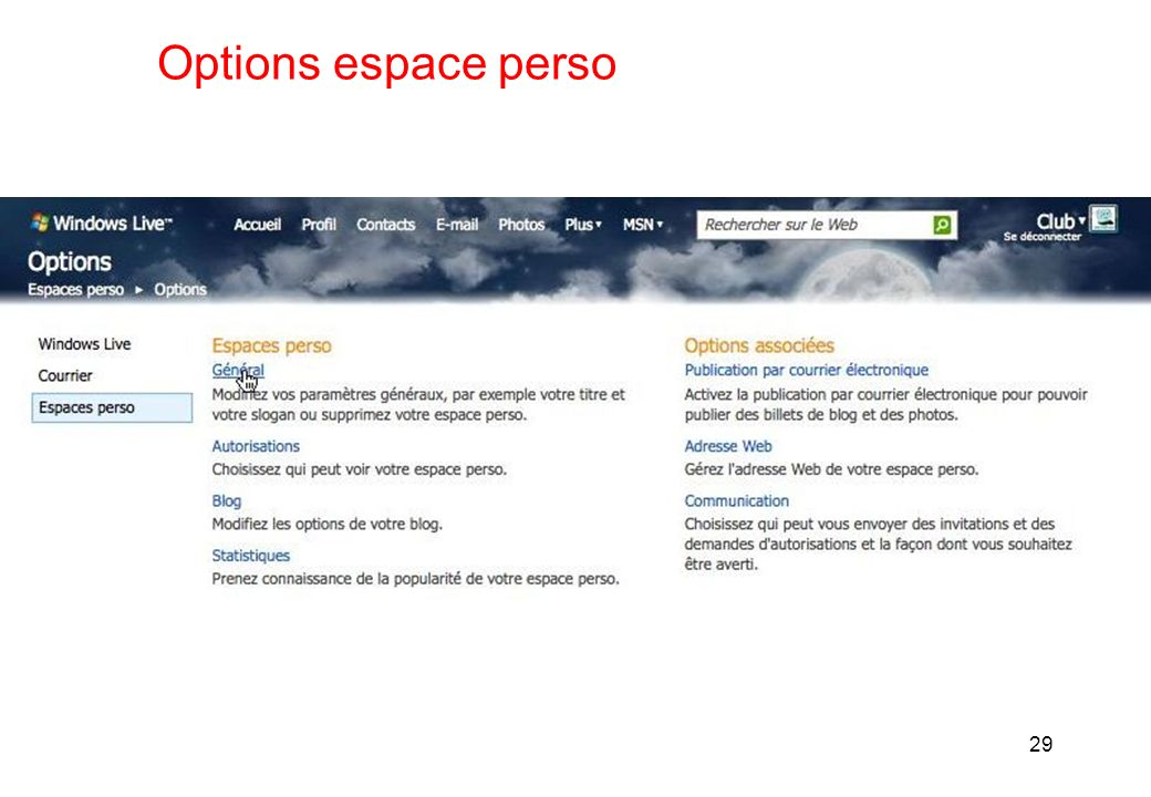 Options espace perso 29