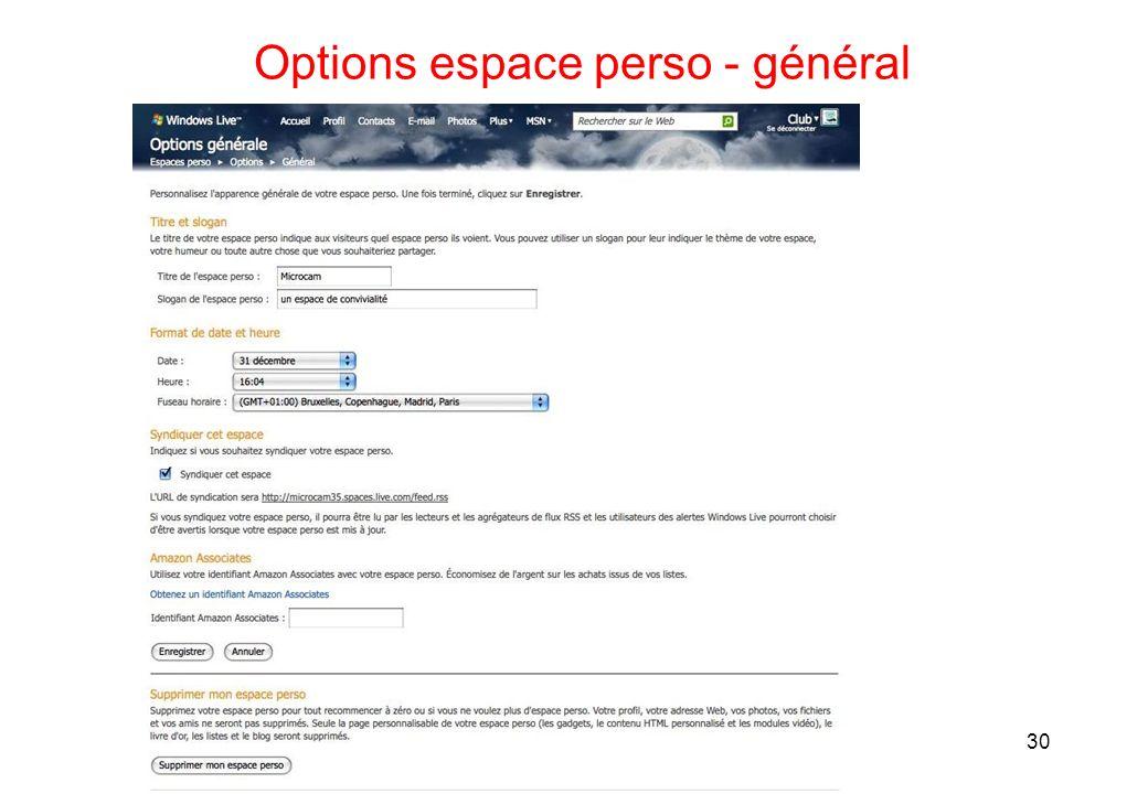 Options espace perso - général 30