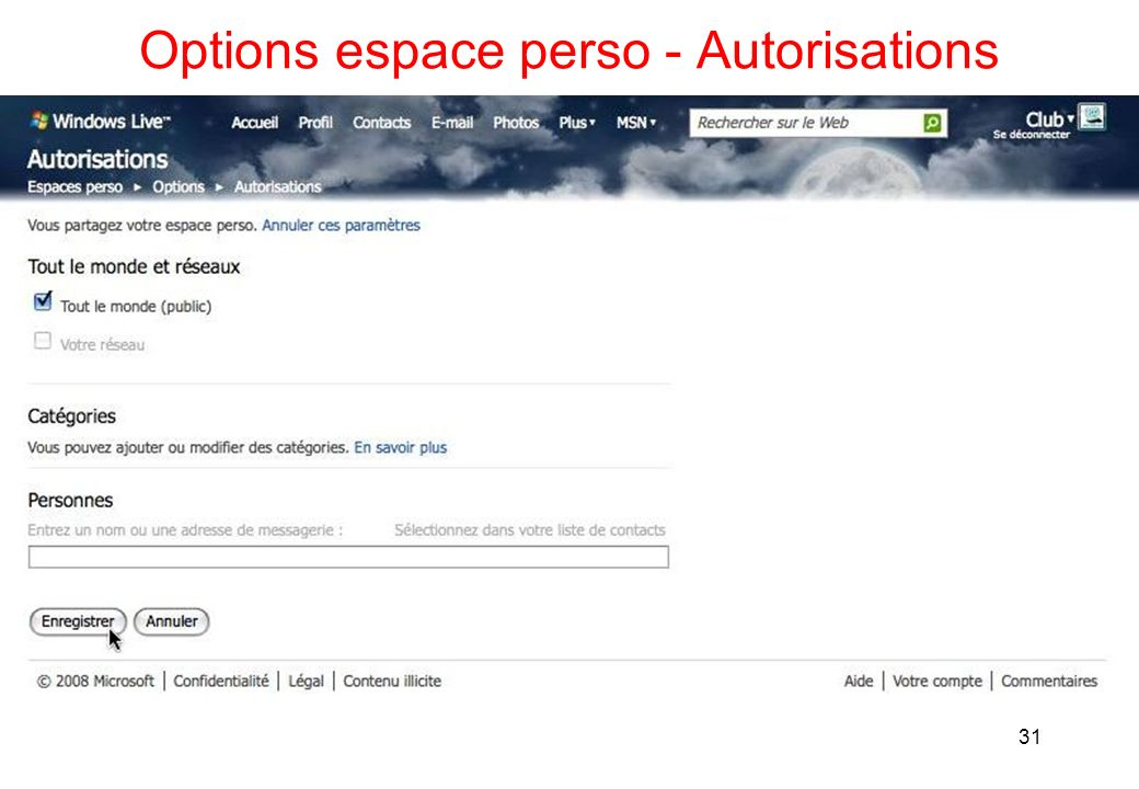 Options espace perso - Autorisations 31