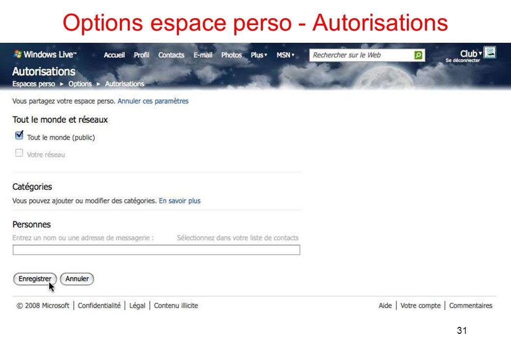 Options espace perso - Autorisations 31