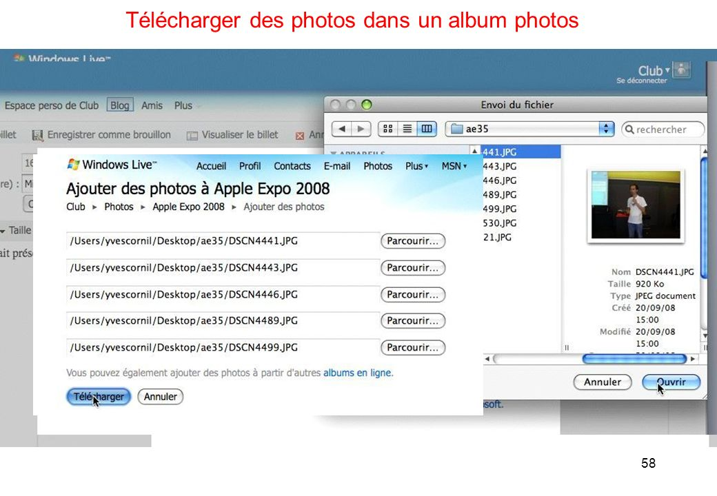 58 Télécharger des photos dans un album photos