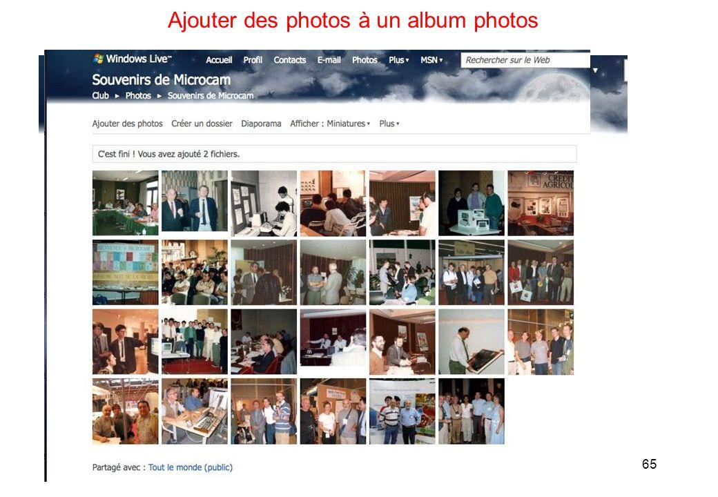 65 Ajouter des photos à un album photos