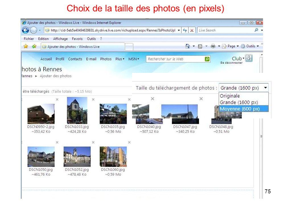 75 Choix de la taille des photos (en pixels)
