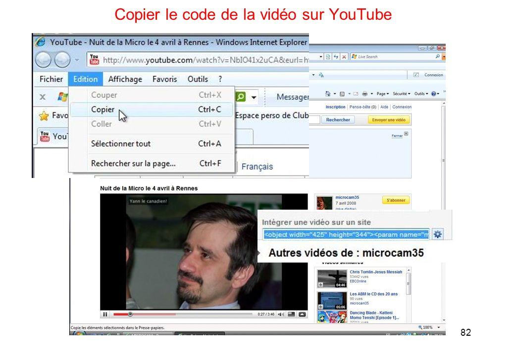 82 Copier le code de la vidéo sur YouTube