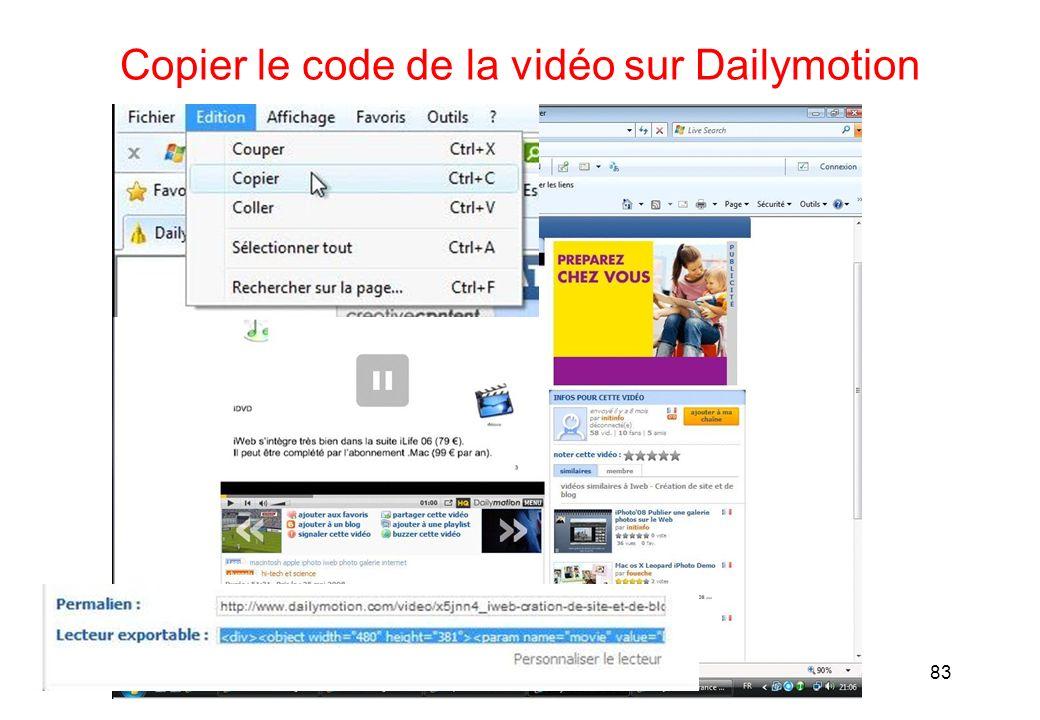 Copier le code de la vidéo sur Dailymotion 83