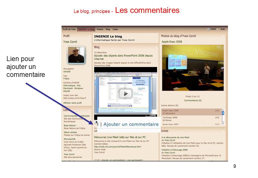 9 Le blog, principes - Les commentaires Lien pour ajouter un commentaire