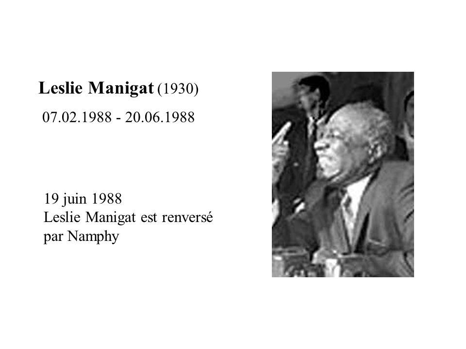 Leslie Manigat (1930) 07.02.1988 - 20.06.1988 19 juin 1988 Leslie Manigat est renversé par Namphy