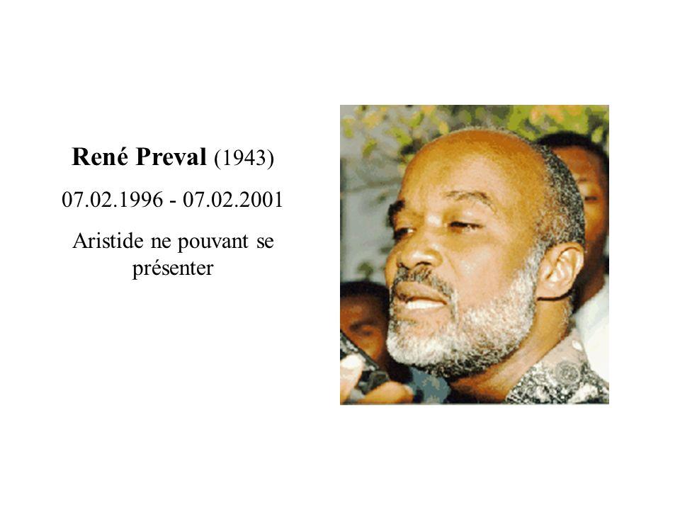 René Preval (1943) 07.02.1996 - 07.02.2001 Aristide ne pouvant se présenter