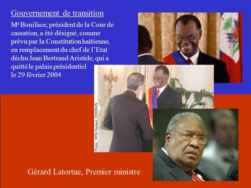 M e Boniface, président de la Cour de cassation, a été désigné, comme prévu par la Constitution haïtienne, en remplacement du chef de lEtat déchu Jean