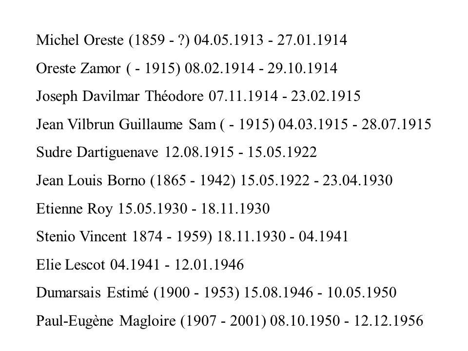 Michel Oreste (1859 - ?) 04.05.1913 - 27.01.1914 Oreste Zamor ( - 1915) 08.02.1914 - 29.10.1914 Joseph Davilmar Théodore 07.11.1914 - 23.02.1915 Jean