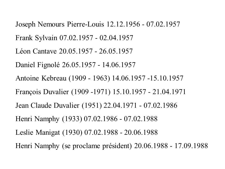 Joseph Nemours Pierre-Louis 12.12.1956 - 07.02.1957 Frank Sylvain 07.02.1957 - 02.04.1957 Léon Cantave 20.05.1957 - 26.05.1957 Daniel Fignolé 26.05.19