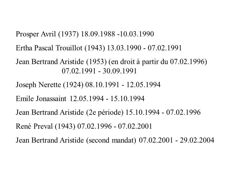 Prosper Avril (1937) 18.09.1988 -10.03.1990 Ertha Pascal Trouillot (1943) 13.03.1990 - 07.02.1991 Jean Bertrand Aristide (1953) (en droit à partir du
