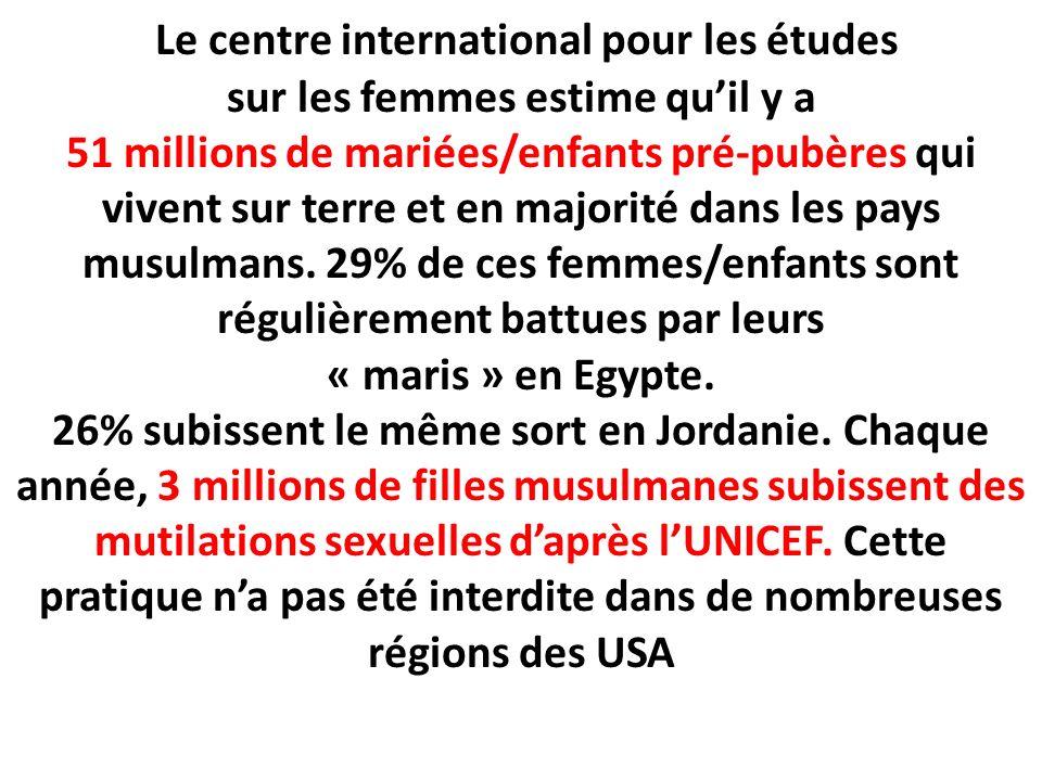 Le centre international pour les études sur les femmes estime quil y a 51 millions de mariées/enfants pré-pubères qui vivent sur terre et en majorité dans les pays musulmans.