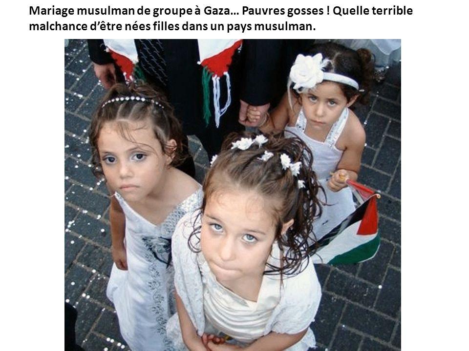 Mariage musulman de groupe à Gaza… Pauvres gosses ! Quelle terrible malchance dêtre nées filles dans un pays musulman.