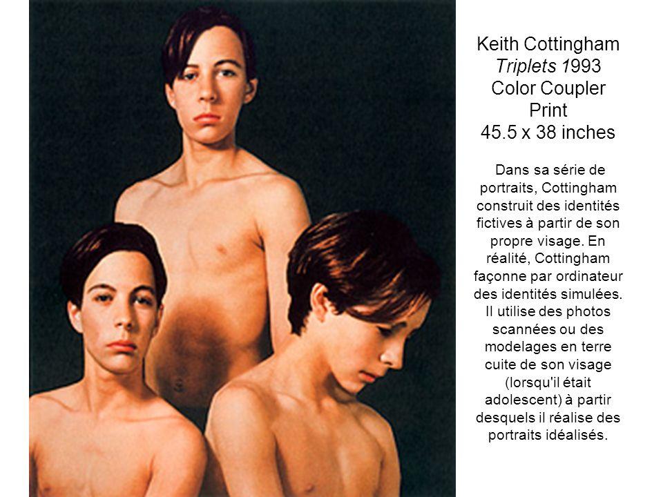 Keith Cottingham Triplets 1993 Color Coupler Print 45.5 x 38 inches Dans sa série de portraits, Cottingham construit des identités fictives à partir d