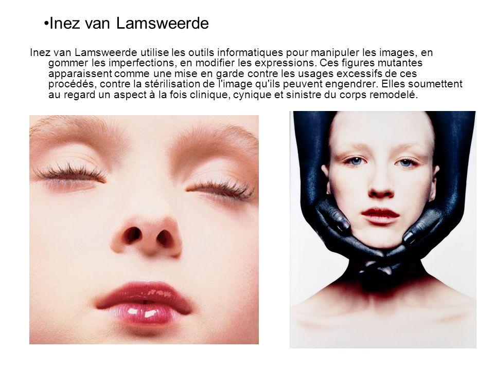 Inez van Lamsweerde utilise les outils informatiques pour manipuler les images, en gommer les imperfections, en modifier les expressions. Ces figures