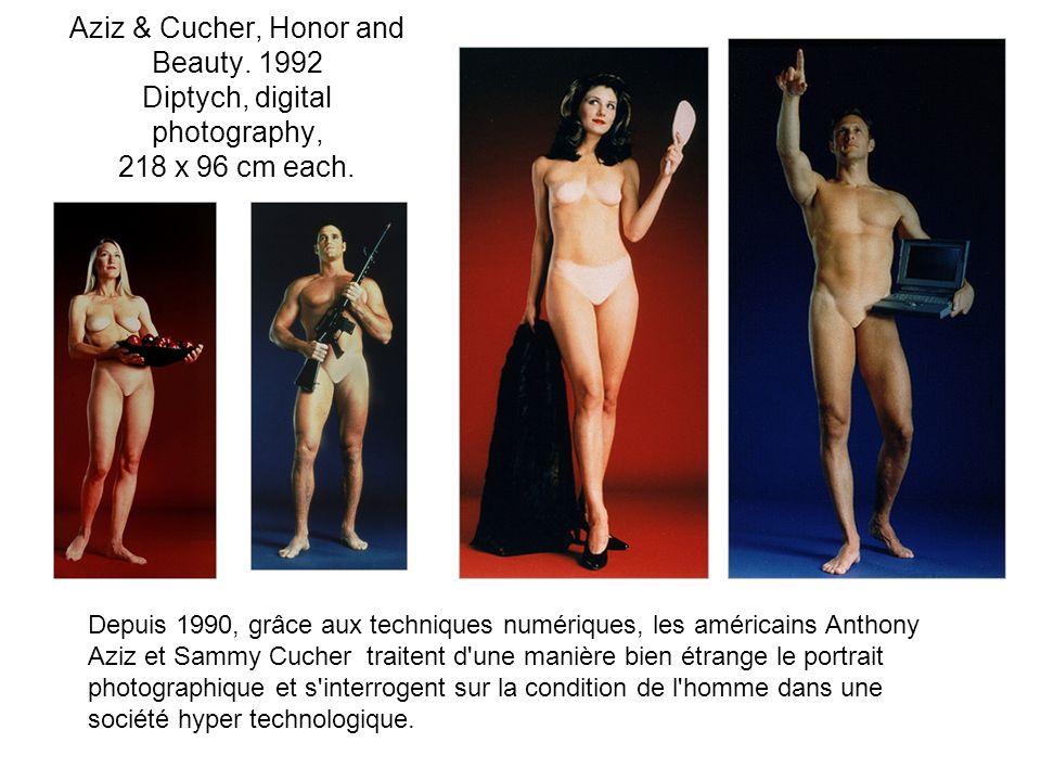Keith Cottingham Triplets 1993 Color Coupler Print 45.5 x 38 inches Dans sa série de portraits, Cottingham construit des identités fictives à partir de son propre visage.